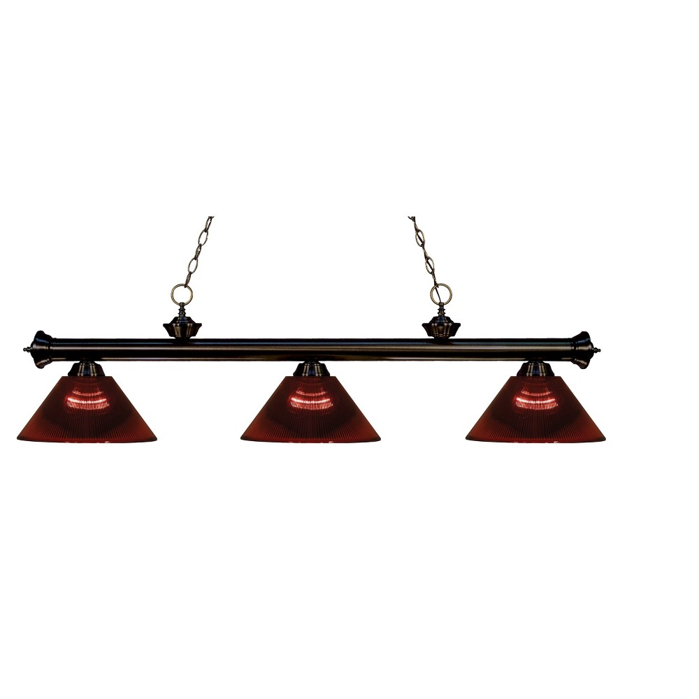 Billiard Ceiling Lights with Burgundy (Red) Glass (Set of 3) - Z-Lite