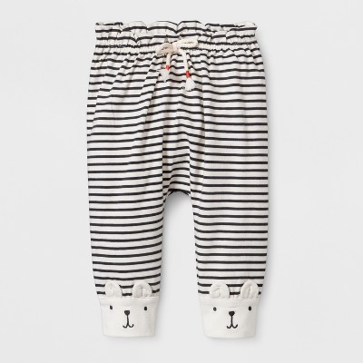 Baby Girls' Stripe Critter Ankle Pants - Cat & Jack™ Cream/Black 6-9M