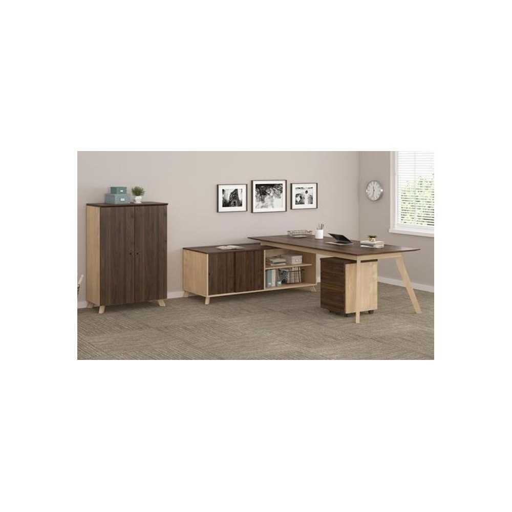 Executive Desk And Mobile File Bundle Walnut - Ameriwood Home