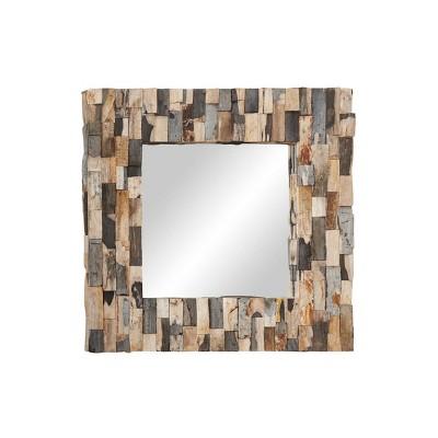 "32"" x 32"" Wood Square Checkered Petrified Stone Wall Mirror - Olivia & May"