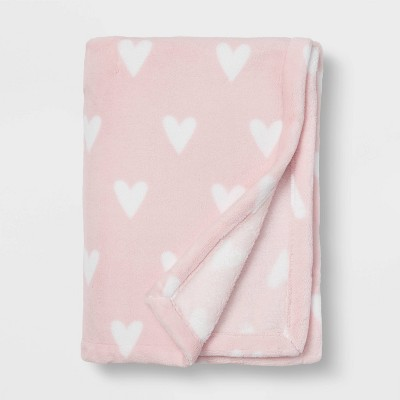 Toddler Bed Plush Blanket - Cloud Island™ Pink Heart