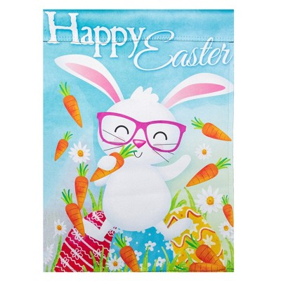 "Northlight Happy Easter Bunny with Carrots Outdoor Garden Flag 12.5"" x 18"""