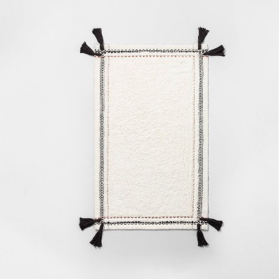 Textured Border Double Tassel Bath Rug Copper/Cream/Black - Hearth & Hand™ with Magnolia