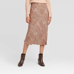 Women's Snakeskin Mid-Rise Midi Slip Skirt - A New Day™ Brown