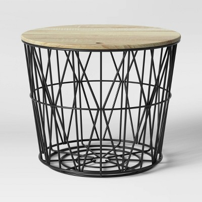 Wire Storage Table with Removable Lid Black - Room Essentials™