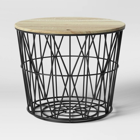 Wire Storage Table With Removable Lid Black Room Essentials