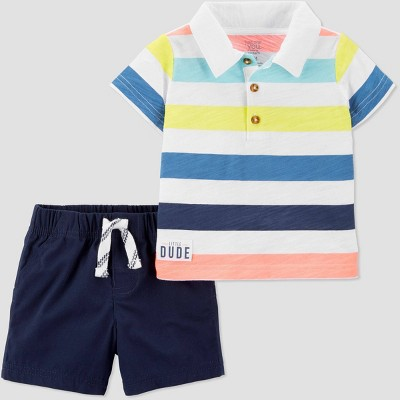 Baby Boys' 2pc Bright Stripe Polo/Shorts Set - Just One You® made by carter's Blue/White 18M