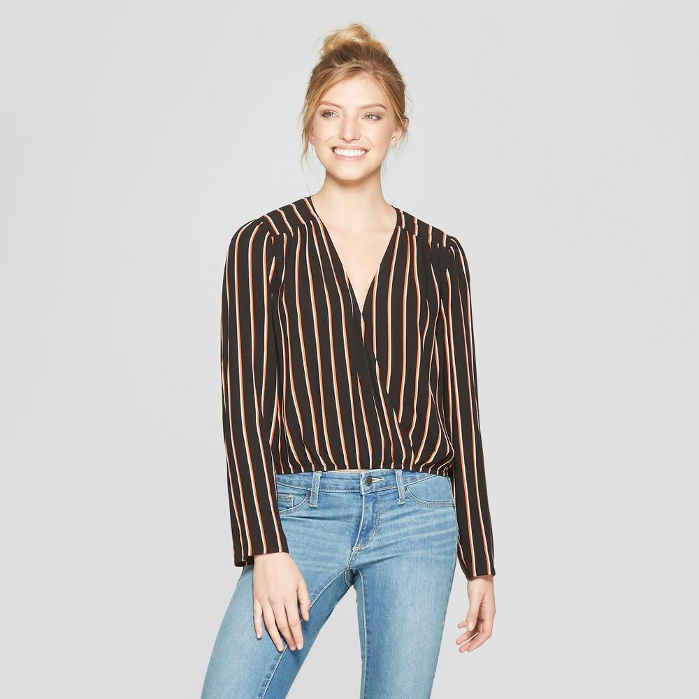 Women's Striped Long Sleeve Wrap Front Top - Xhilaration Black/White L