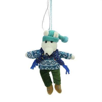 "Ganz 6.25"" Bohemian Holiday Plush Polar Bear Boy with Dangling Legs Christmas Ornament - Blue/Green"