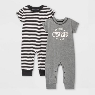 Baby Boys' 2pk 'Obsessed' Short Sleeve Romper - Cat & Jack™ Gray 3-6M