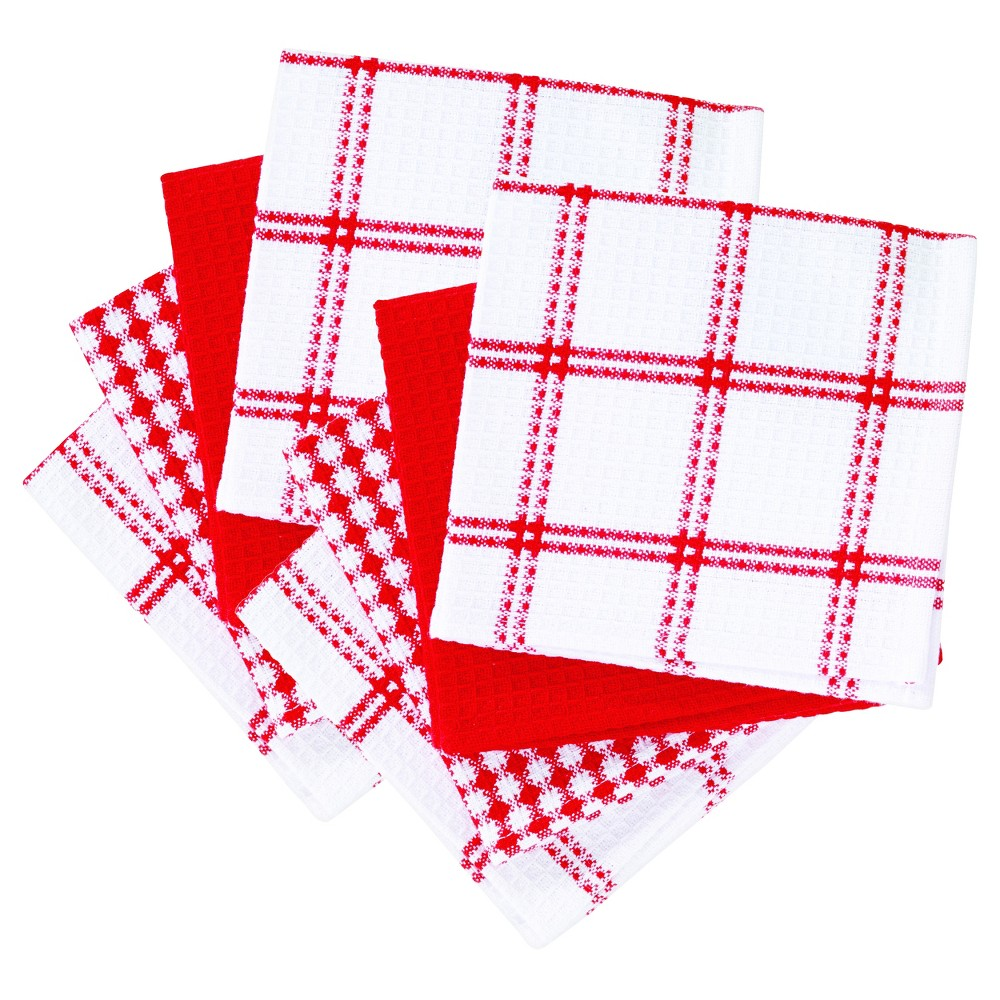 "Image of ""8pk Red Flat Waffle Kitchen Dish Cloth (12""""x13"""") - T-Fal"""