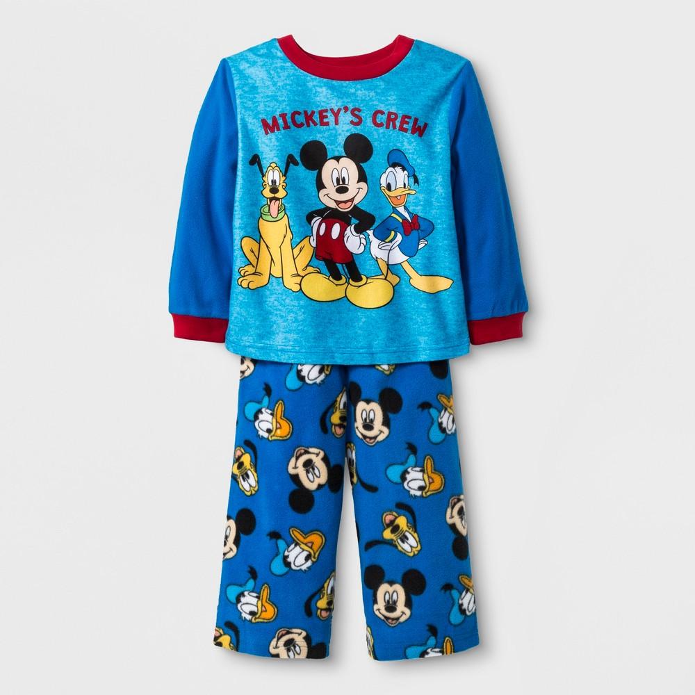 Baby Boys' Mickey Mouse 2pc Fleece Pajama Set - Blue 12M