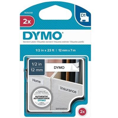 DYMO D1 1926208 Label Maker Tape, 1/2W, White