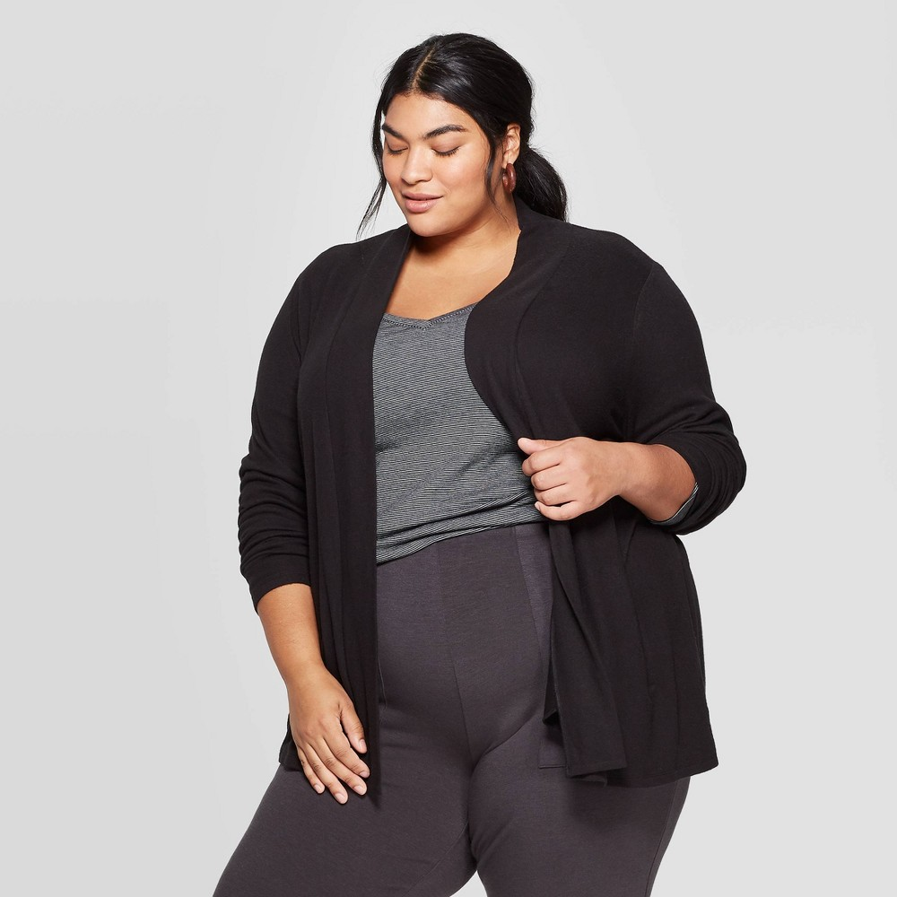 Women's Plus Size Collared Open Layering Cardigan - Ava & Viv Black X was $27.99 now $19.59 (30.0% off)