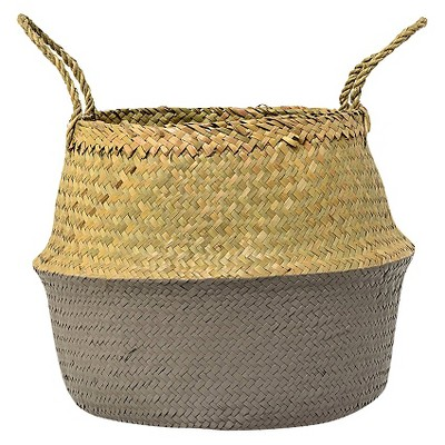 """Seagrass Basket with Handles 12"""" x 15"""" Natural/Gray - 3R Studios"""
