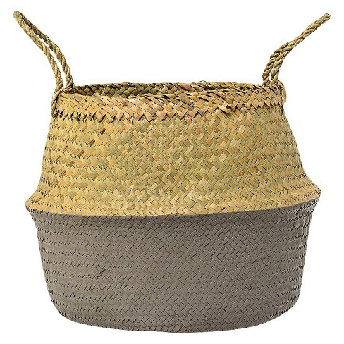 """Seagrass Basket with Handles - Natural/Gray (13"""") - 3R Studios - image 1 of 2"""