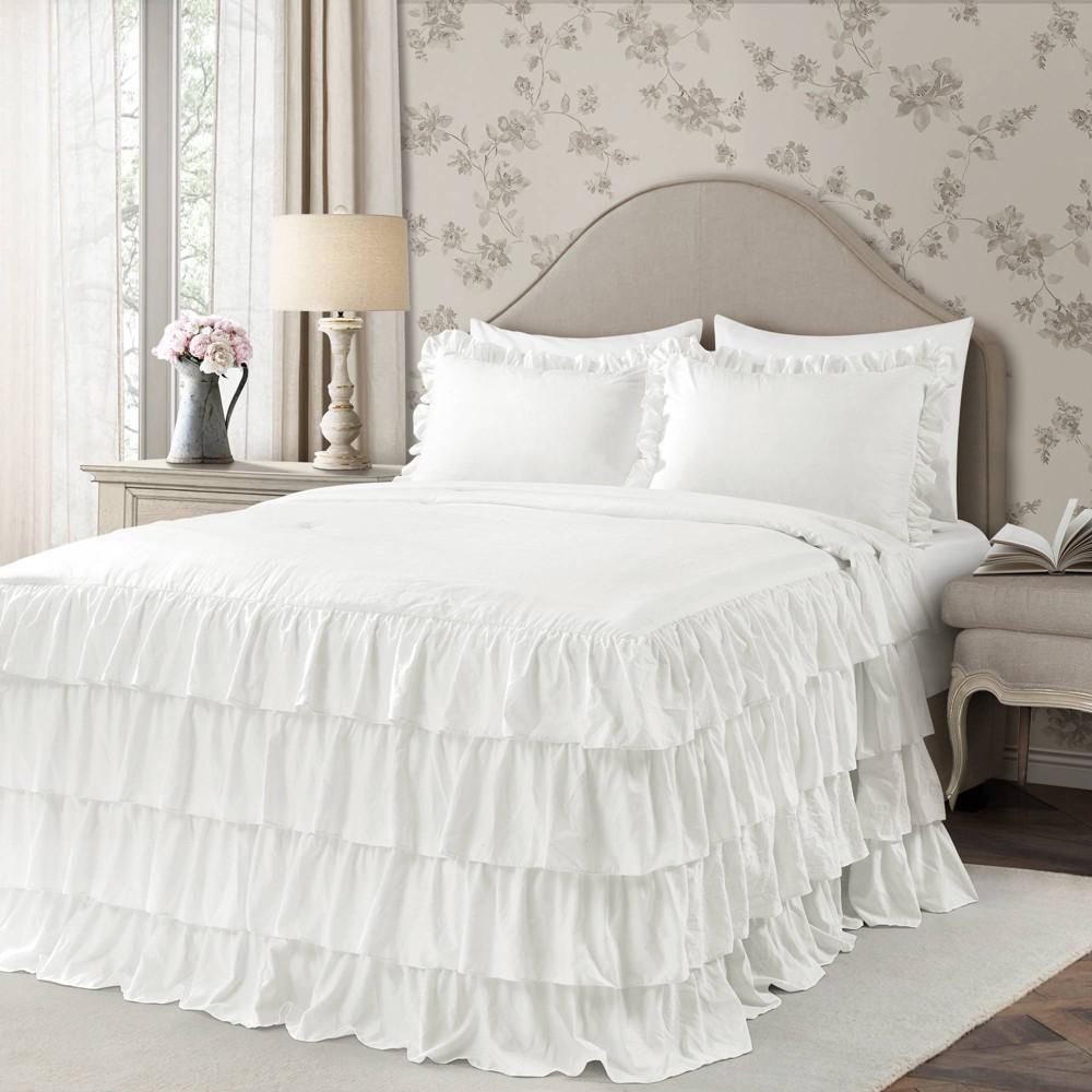 Lush Decor Twin Extra Long 2pc Allison Ruffle Skirt Bedspread Set White