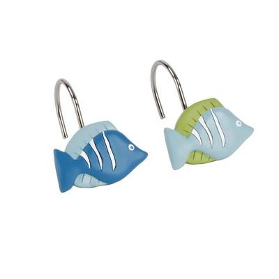 "Saturday Knight Ltd ""Atlantis"" High Quality Shower Curtain Hooks Set of 12 - Aqua"