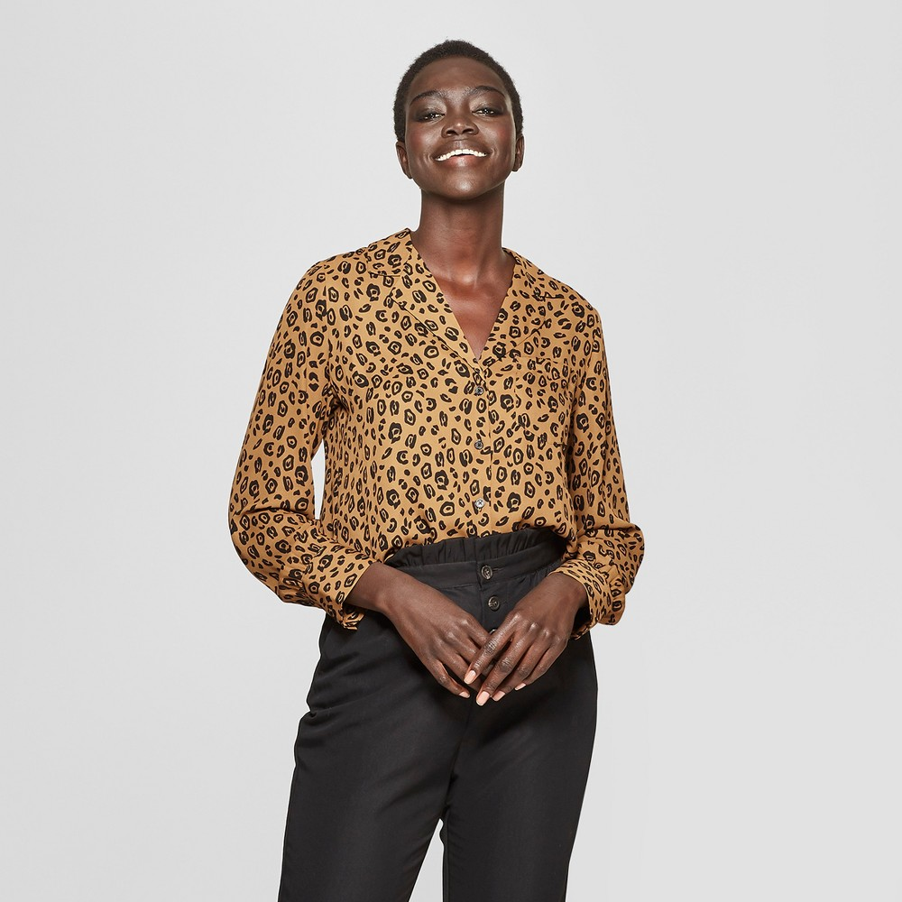 Women's Leopard Print Long Sleeve V-Neck Button-Up Blouse - Who What Wear Brown XS, Brown Leopard Print