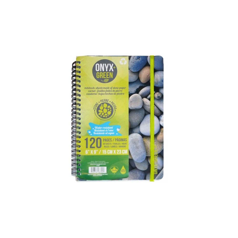 Onyx & Green Notebook Spiral Rocks : With Elastic Closure, 60 Ruled Sheets, Stone Paper (Paperback)