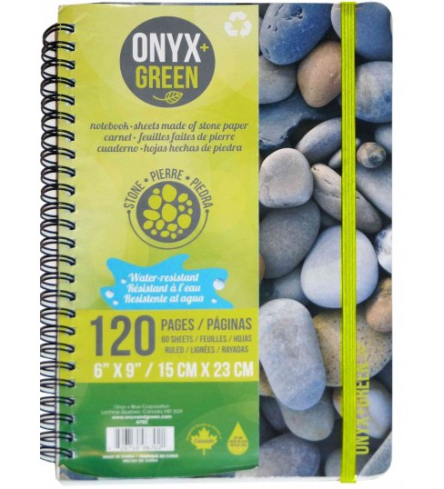 Onyx & Green Notebook Spiral Rocks : With Elastic Closure, 60 Ruled Sheets, Stone Paper (Paperback) - image 1 of 1