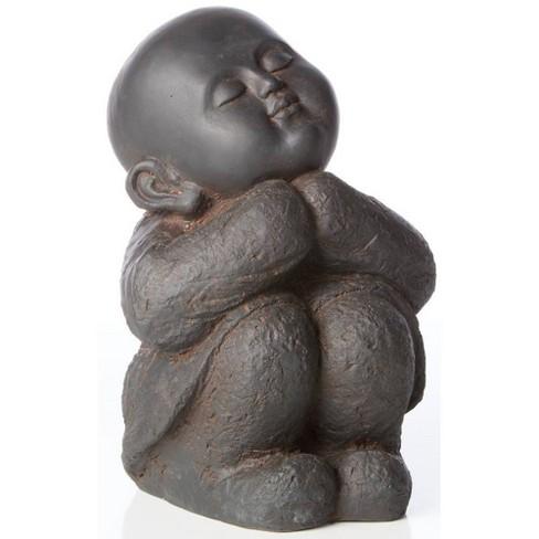 "12.5"" Indoor/Outdoor Resin Humming Buddha Statue Black/Brown - Alfresco Home LLC - image 1 of 1"