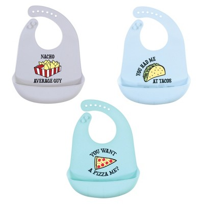 Hudson Baby Infant Boy Silicone Bibs 3pk, Fast Food, One Size