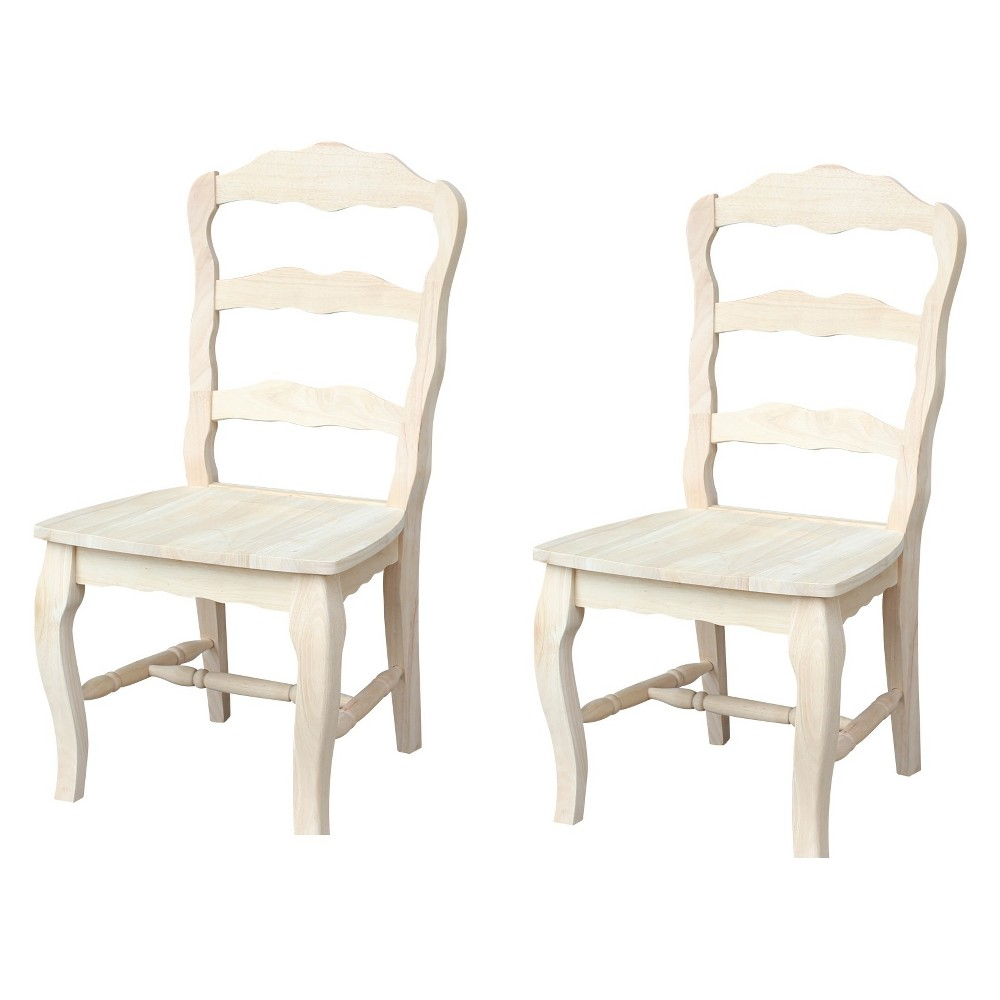 Set Of 2 Versailles Side Chair With Solid Wood Seat Unfinished - International Concepts, Brown