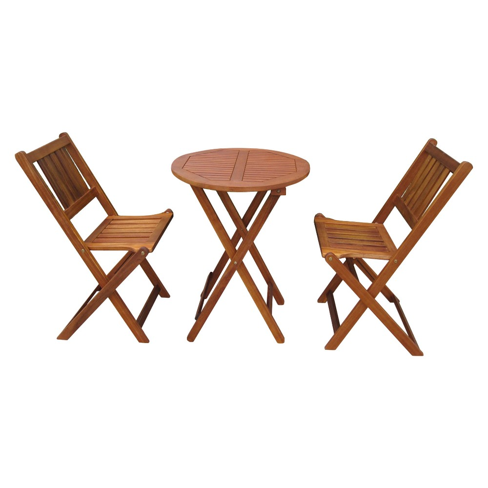 Image of 3pc Wood Patio Bistro Set - Brown - Merry Products