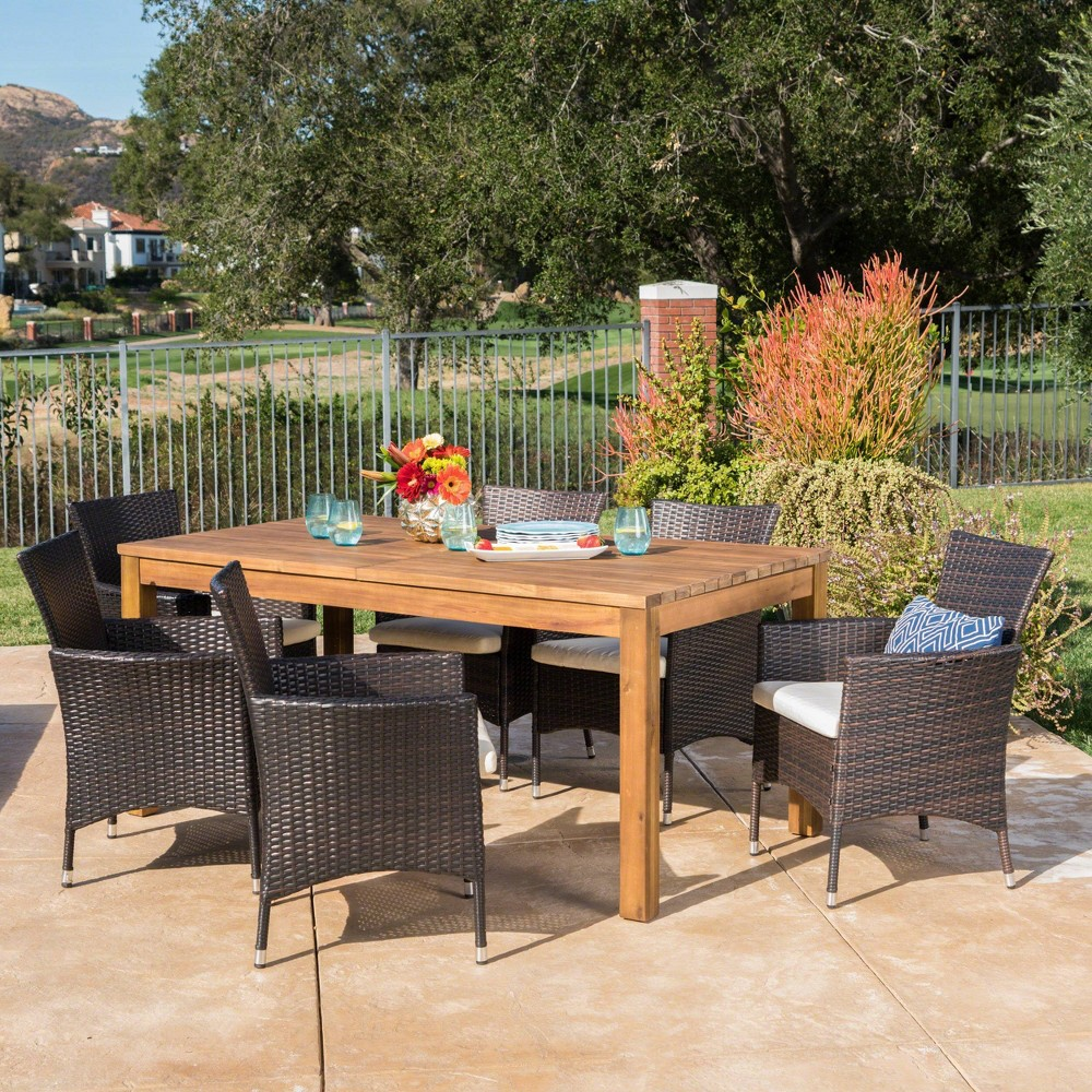 Oslo 7pc Acacia Wood & Wicker Patio Dining Set - Brown - Christopher Knight Home
