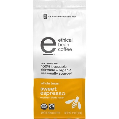 Ethical Bean Coffee Sweet Espresso Medium Dark Roast Whole Bean Coffee - 12oz