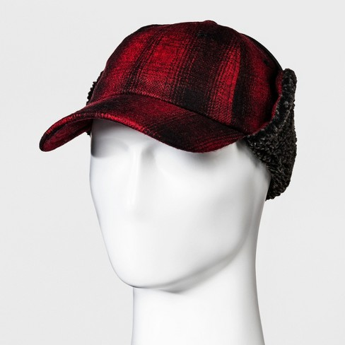 ccb85b75a80 Men s Plaid Tie Up Camper Tweed Baseball Hat - Goodfellow   Co™ Red ...