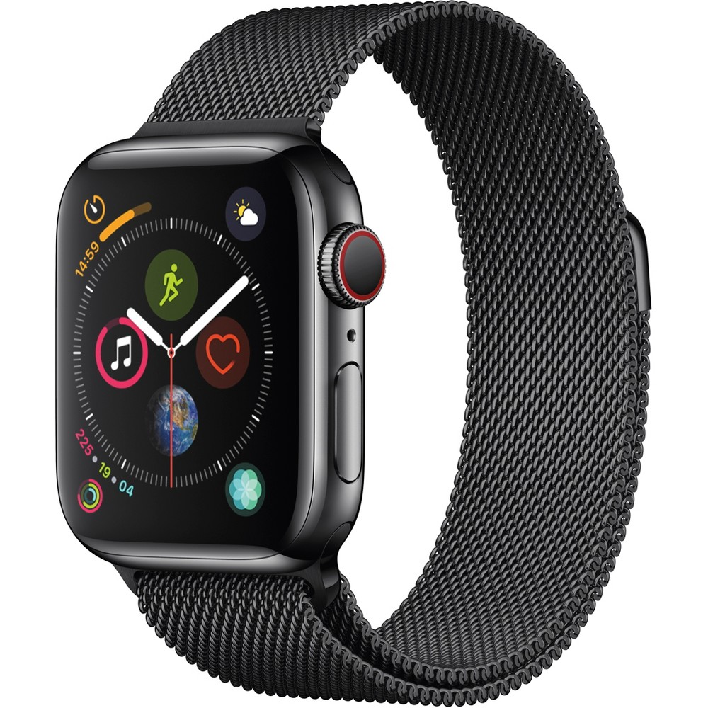 Apple Watch Series 4 Gps & Cellular 40mm Space Black Stainless Steel Case with Milanese Loop - Space Black Fundamentally redesigned and reengineered. The largest Apple Watch display yet. Built-in electrical heart sensor. New Digital Crown with haptic feedback. Low and high heart rate notifications. Fall detection and Emergency Sos. New Breathe watch faces. Automatic workout detection. New yoga and hiking workouts. Advanced features for runners like cadence and pace alerts. New head-to-head competitions. Activity sharing with friends. Personalized coaching. Monthly challenges and achievement awards. Built-in cellular lets you use Walkie-Talkie, make phone calls, and send messages. Stream Apple Music and Apple Podcasts. And use Siri in all-new ways—even while you're away from your phone. With Apple Watch Series 4, you can do it all with just your watch. Selection may vary; see a sales associate for available models. Apple Watch Series 4 (Gps + Cellular) requires an iPhone 6 or later with iOS 12 or later. Wireless service plan required for cellular service. Apple Watch and iPhone service provider must be the same. Not all service providers support enterprise accounts; check with your employer and service provider. Roaming is not available outside your carrier network coverage area. Contact your service provider for more details. Apple Music requires a subscription. Compared with the previous generation. Iso standard 22810:2010. Appropriate for shallow-water activities like swimming. Submersion below shallow depth and high-velocity water activities not recommended. Color: Black.