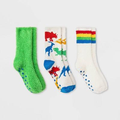 Boys' 3pk Dino Cozy Crew Socks - Cat & Jack™ Cream/Green