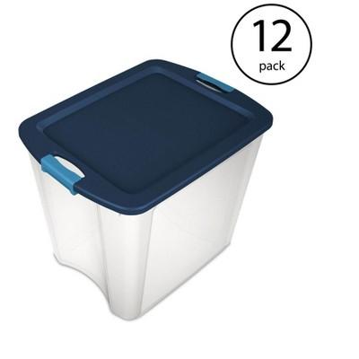 Sterilite 26 Gallon Latch & Carry Plastic Storage Tote Container Box (12 Pack)