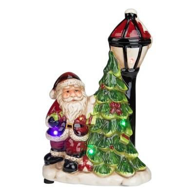 """Napco 10.75"""" Musical LED Santa Light-Post Christmas Figurine"""