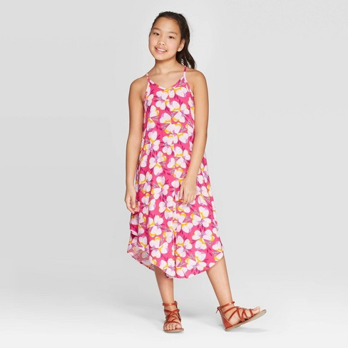 Girls' Woven Maxi Dress - Cat & Jack™ Magenta - image 1 of 3