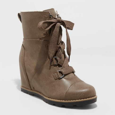 Women's Katherine Lace-Up Wedge Fashion Boots - Universal Thread™ - image 1 of 3