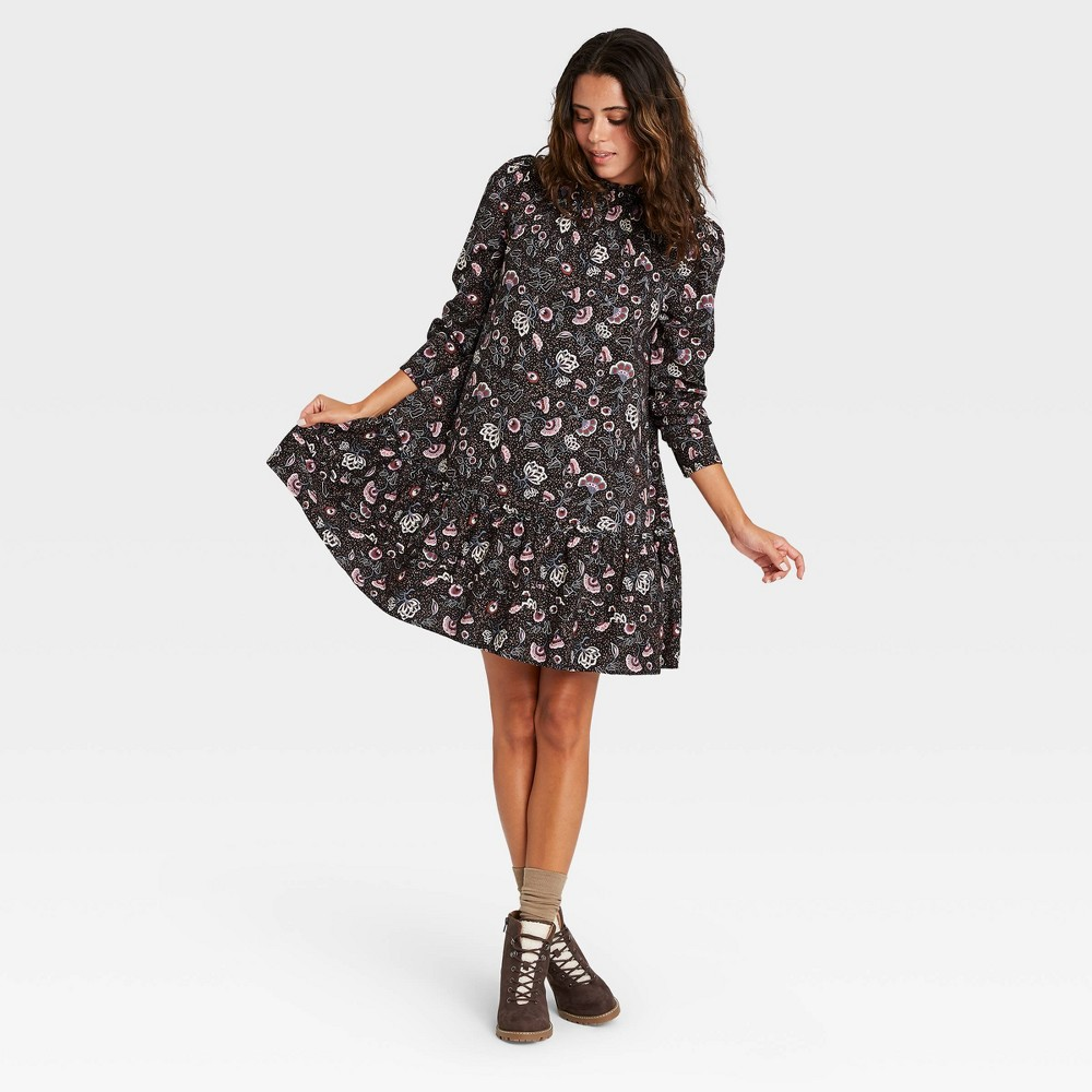 Women 39 S Floral Print Puff Long Sleeve Ruffle Dress Universal Thread 8482 Black Xl
