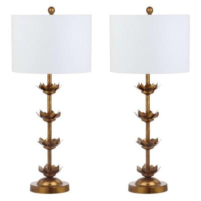 "(Set of 2)32"" Lani Leaf Table Lamp Antique Gold (Includes LED Light Bulb)- Safavieh"