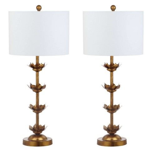 "(Set of 2) 32"" Lani Leaf Table Lamp Antique Gold (Includes LED Light Bulb) - Safavieh - image 1 of 4"