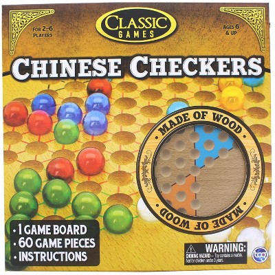 The Canadian Group Classic Games Wood Chinese Checkers Set | Board & 60 Game Pieces
