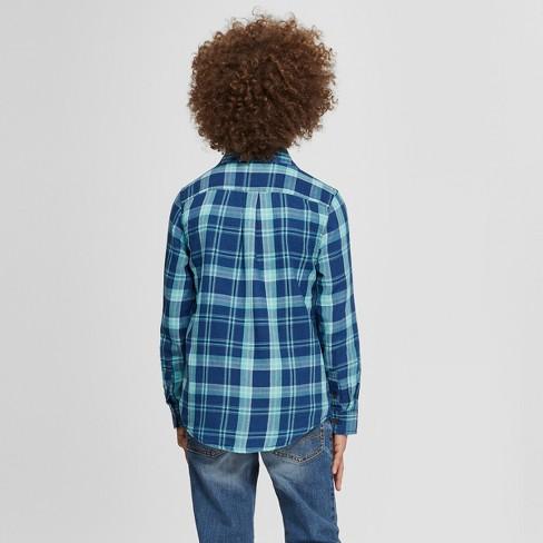 ac2f0e3598 Boys  Long Sleeve Button-Down Shirt - Cat   Jack™ Dark Blue   Target