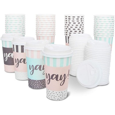 48-Pack Yay! Decorative Insulated Disposable Coffee Cups with Lids, 16oz Paper Hot Cup to Go for Birthday Party, Event Decorations