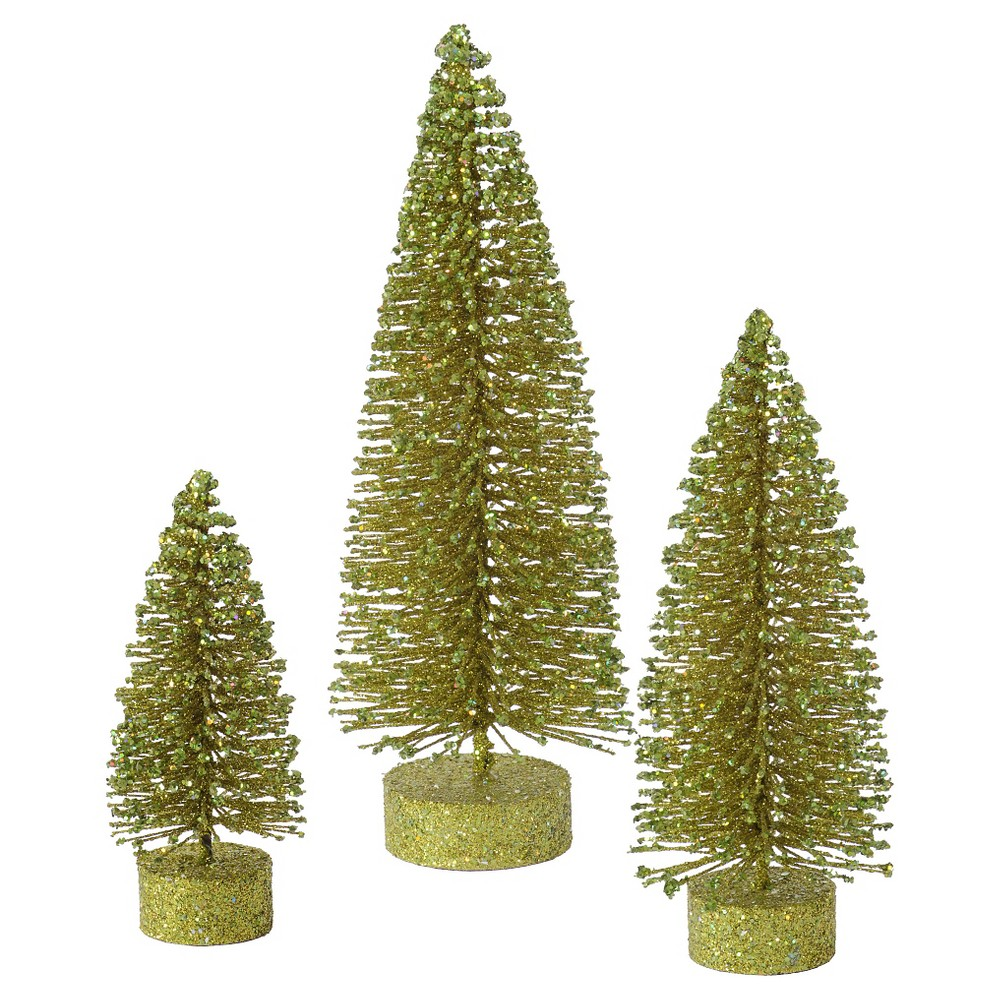 "Image of ""5, 7"""", 9"""" Unlit Artificial Christmas Tree Glitter Oval Set Olive, Light Olive"""