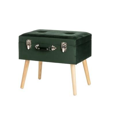 """20"""" Velvet Upholstered Storage Stool Hunter Green - Glitzhome"""