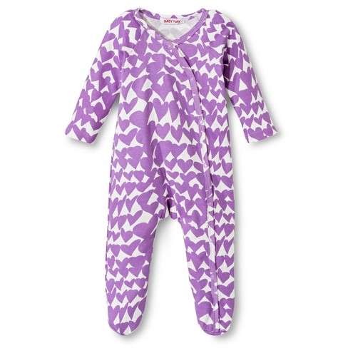 Baby Nay Groovy Hearts Kimono Footie - Lilac - image 1 of 2