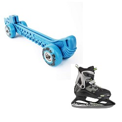 Rollergard ROC-N-Roller Guard, Blue (2 Pack) & Bladerunner Micro Ice Boys Skates