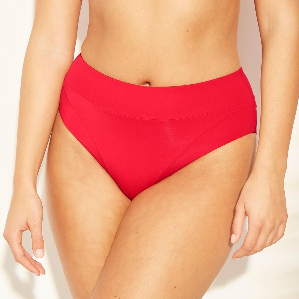 Women's High Waist Bikini Bottom - Sunn Lab Swim Red L
