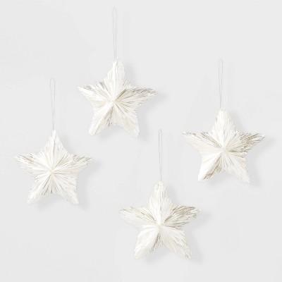 4pk Tinsel Stars Ornament Set White - Wondershop™